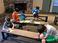 Grade K-3 Boys making crafts to share Jesus' Love