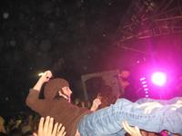 Camille crowd surfing at the Kutless concert