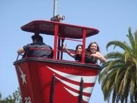 Camille and Emily flying over Great America