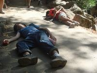"Mark and Tim doing the ""Good Samaritan Test"" to passerbys on the Vernal Falls trail"