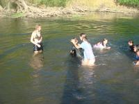 Water fights in the river. Watch out Justen, Stephanie is behind you!