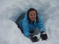 Monica in her snow fort