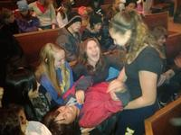 Fion lap surfing during chapel