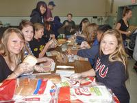 Making sandwiches for the homeless