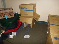 Tim slept this way all night in his cardboard building