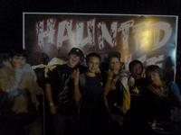 The boys before going in the scary haunted house