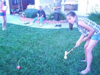 Rachel going for the gold in croquet