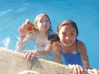 Pizza in the pool.