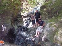 The boys checking out Basin Falls