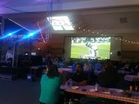 Huge Superbowl party in the fellowship hall