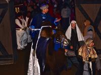 A wiseman coming in on a camel at Bethlehem