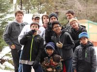 The youth boys at winter camp